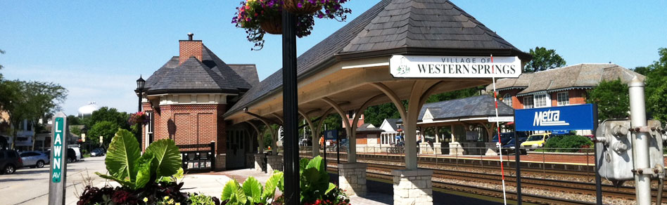 western springs downtown metra station with nancy miller realtor