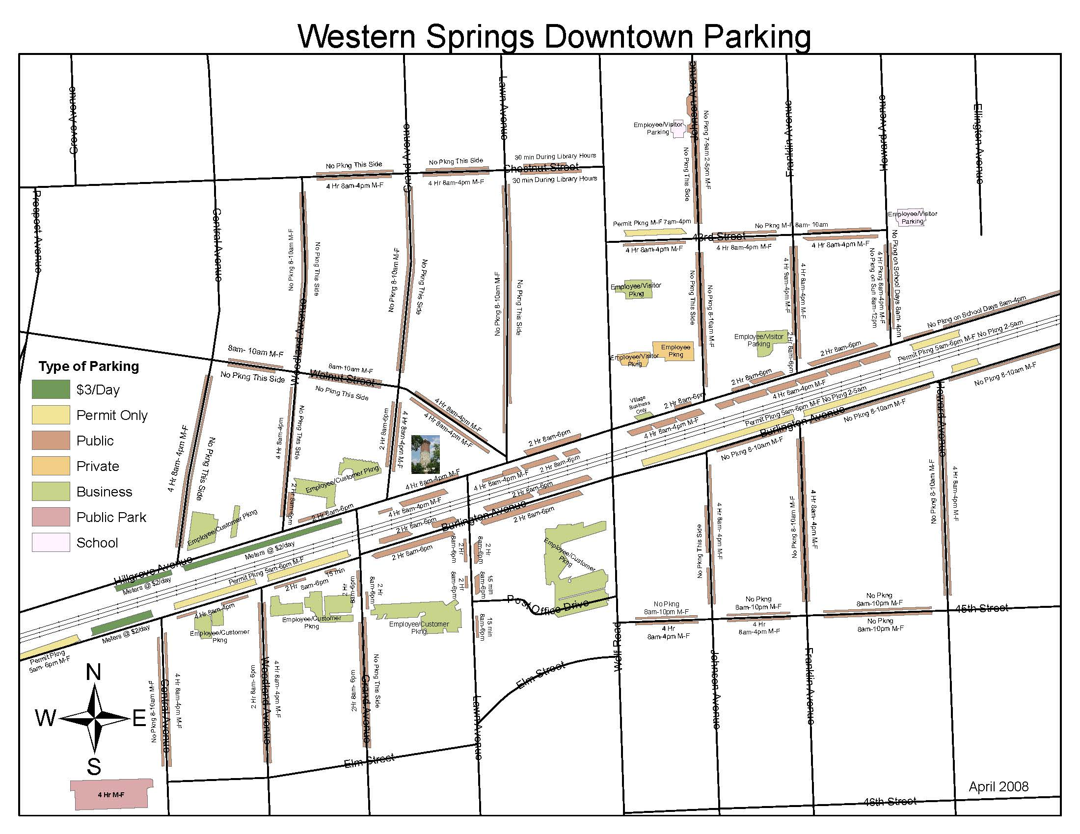 western springs illinois downtown parking map