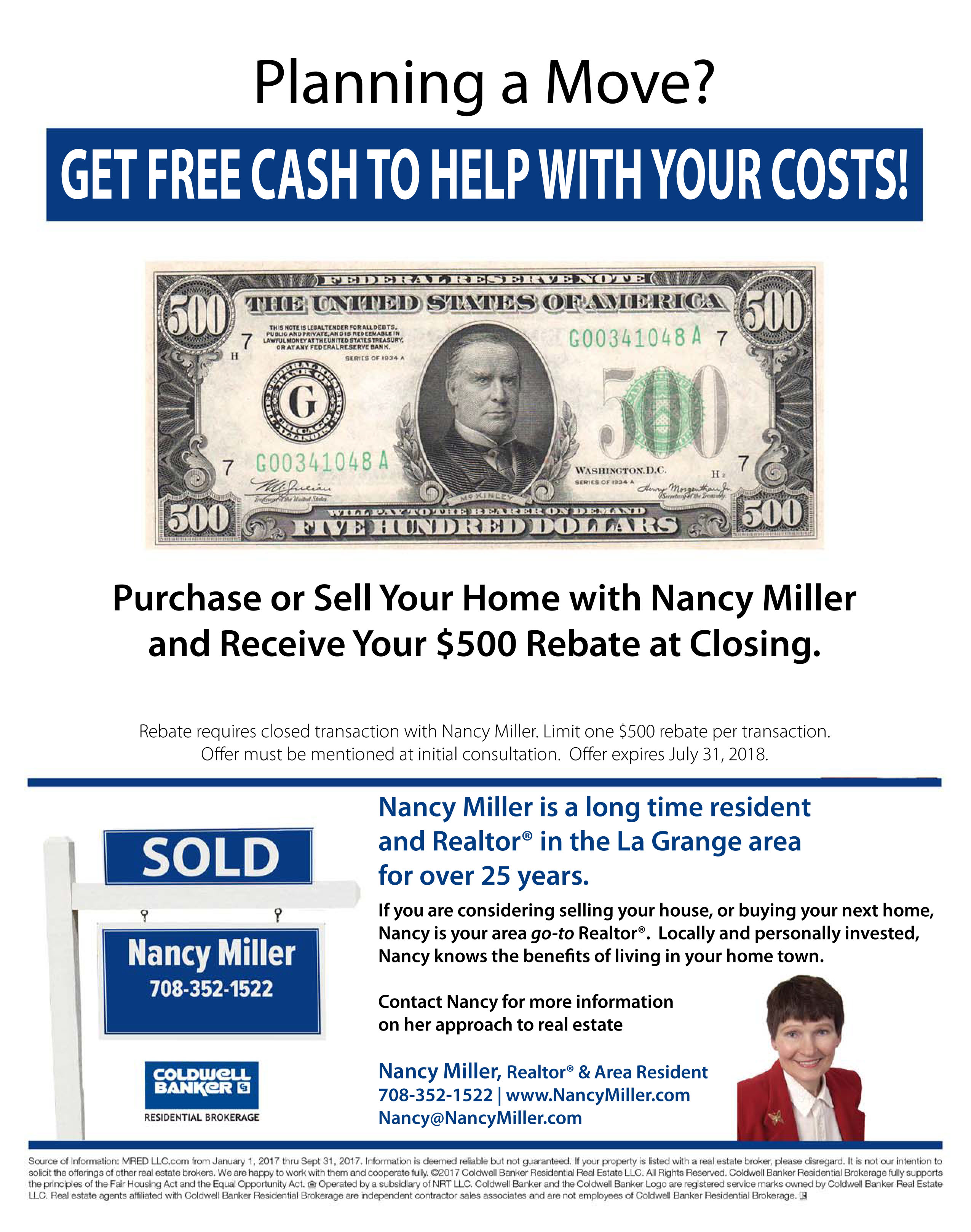 Planning a La Grange IL Move Nancy Miller cash rebate at closing
