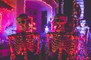two skeletons at nighttime