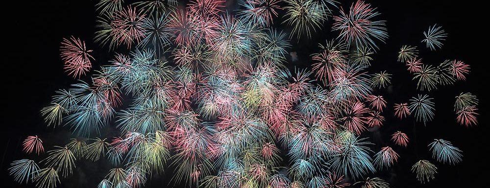massive cluster of fireworks