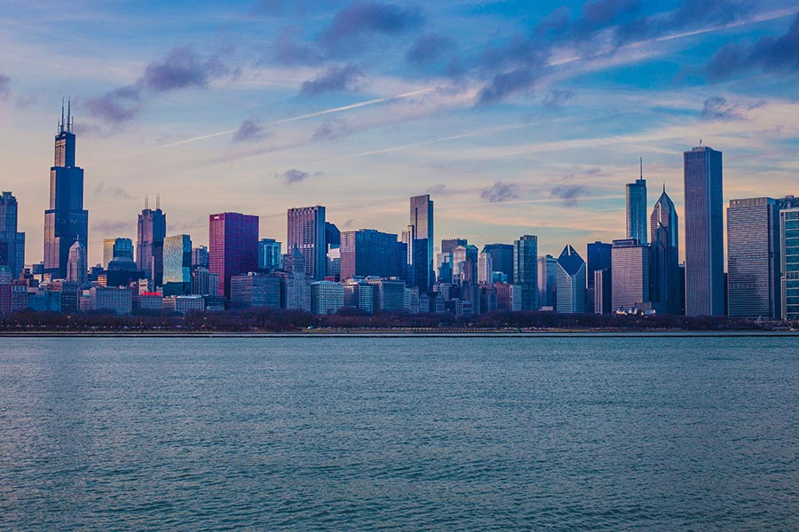 Chicago skyline from lake