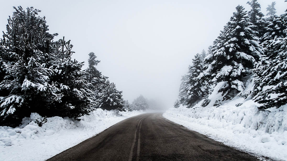 road in a snowstorm