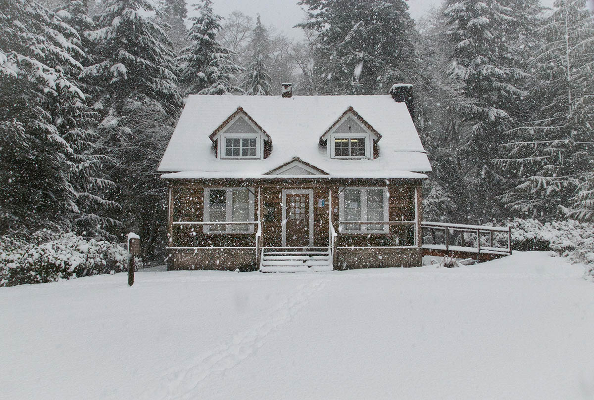 snow-covered house in the woods