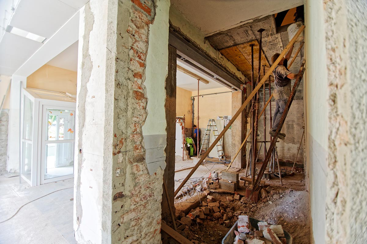 interior of a home undergoing an update